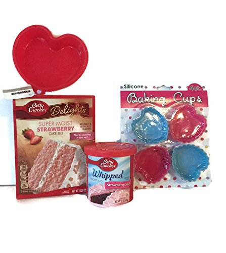 Hearts Baking Bundle: Betty Crocker Super Moist Strawberry Cake Mix & Strawberry Whipped Frosting. Plus 4 Heart Silicone Baking Cups and A 5 inch Heart Silicone Cake Pan (7 Items)