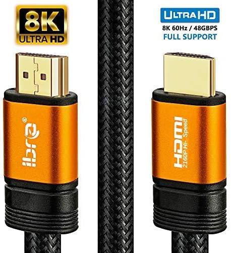 8K-HDMI-Kabel 0,75M-Anschlusskabel,Ultra-Hochgeschwindigkeits-2.1 mit 48 Gbit/s,8K@60Hz,4K@120 Hz,Unterstützung für Fire-TV,Ethernet,Audio-Return,UHD 4320p,3D und Xbox Playstation PS3 PS4-IBRA ORANGE
