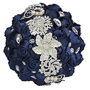KUKI SHOP Handmade Romantic Diamond Pearls Rhinestones Brooch Bridal Artificial Wedding Bouquet of Flower Rose for Bride Party Decoration 21cm Navy 16