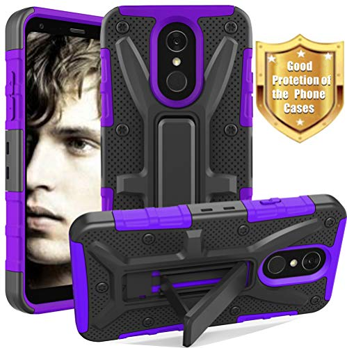 LG Q7 Case, LG Q7+ Case, LG Q7 Plus Case, Yiakeng Dual Layer Shockproof Wallet Slim with Kickstand Hard Phone Protective Cases Cover for LG Q7 (Purple)