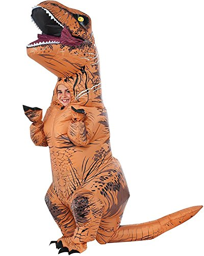 Kids Dinosaur Dress Up (Halloween Inflatable T-Rex Dinosaur Blow Up Dress Up Funny Simulation Luxury Cosplay Costume Suit (Child size, Brown))