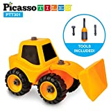PicassoTiles DIY Construction Front Loader Tractor Truck Toys Car Set Bulldozer Dismantling / Take-A-Part Toy Building Kit w/ Safe Child-Size Large Parts, Reversible Screw Driver Nuts & Bolts PTT301