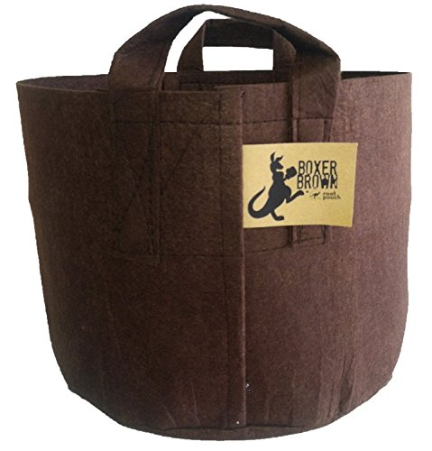 BEST Root Pouch (10 GALLON) BEST FABRIC GARDEN GROW BAG CONTAINER (10 PACK). BROWN WITH HANDLES. by Root Pouch