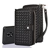 Galaxy Note 4 Case, TabPow Wave Zipper Cash Slot - [Card Slots][Button Closure] Flip PU Leather Wallet Case Cover With Detachable Magnetic Hard Case For Samsung Galaxy Note 4, Black