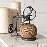 CTW 520057 Sewing Machine Jute Twine Ball String and Scissors Holder Set, Vintage Inspired Rustic Farmhouse Style, Gift for Sewer Sewist Crafter, Cast Iron Metal, Brown, 3 Piece Set
