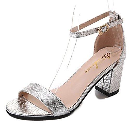 donna per tonda molla ZHZNVX blocco Comfort sandali Casual Scarpe nero Brown tacco Black pu argento punta CUWwWq5p