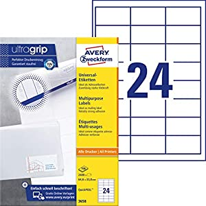 Avery 3658 - Etiquetas universales (64,6 x 33,8 mm), color blanco, 2400 unidades