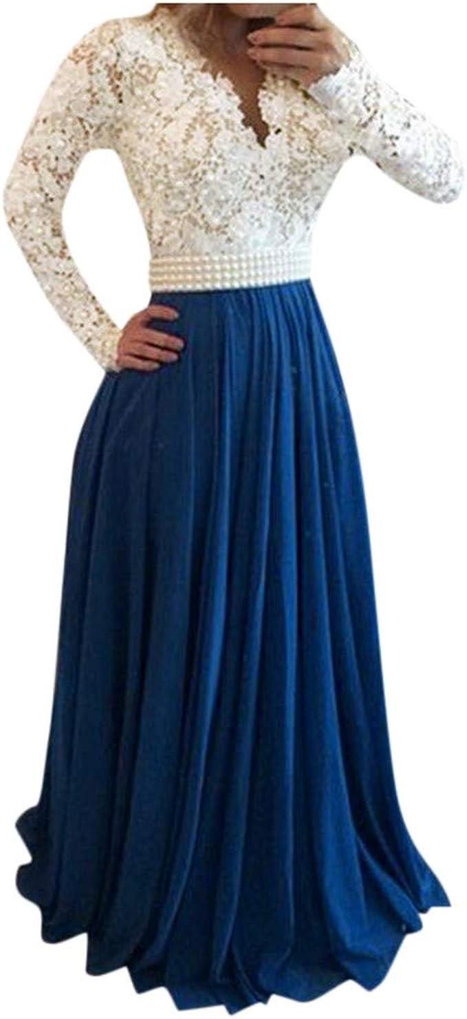 Vestiti Cerimonia Lunghi Blu.Longra Abito Da Sera In Pizzo Backless Con Perla Pizzo Bianco Blu