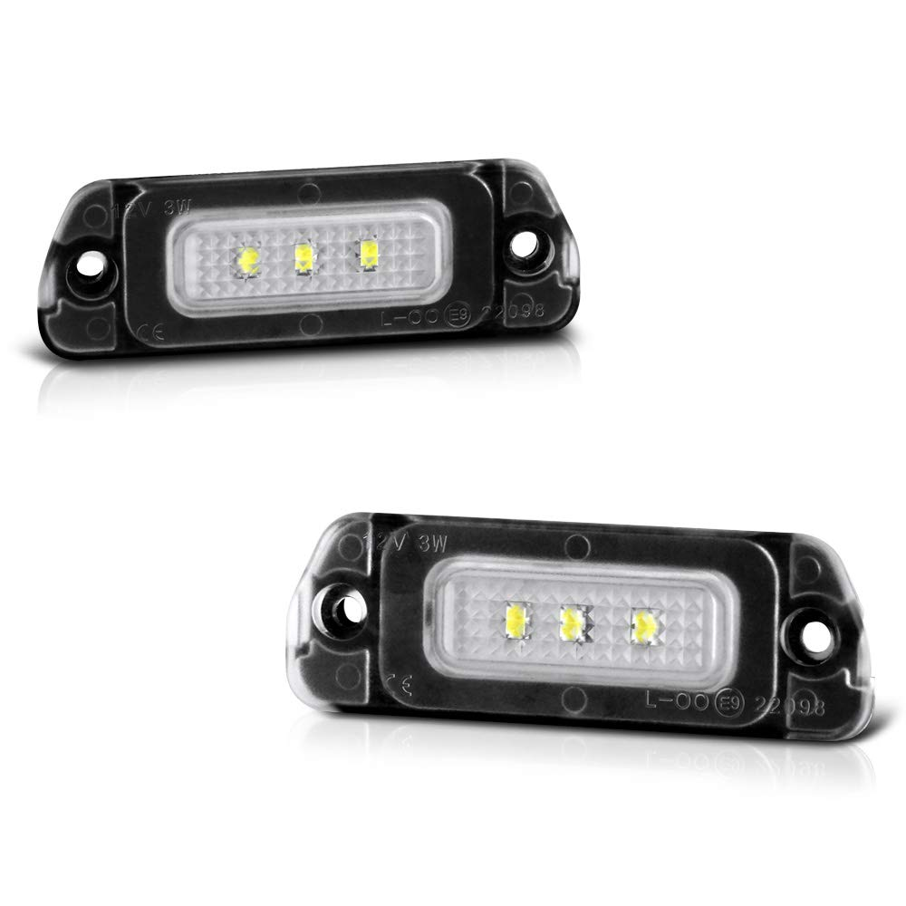 2-Pieces 6000K Diamond White VIPMOTOZ Full LED License Plate Light Tag Lamp Housing Assembly Replacement Pair For 2005-2012 Mercedes-Benz W164 W251 X164 Diesel Engine Models