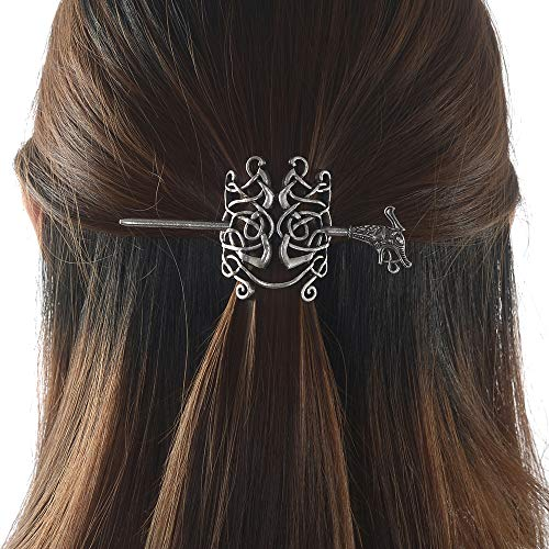 - Large Celtic Knots Dragon Hairpins -Norse Viking Crown Hair Jewelry for Long Hair Braids Barrettes Vintage Viking Runes Women Girl Hairpin Hair Clips Stick Irish Slide Accessories