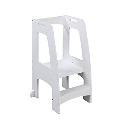 Merveilleux Guidecraft Step Up Kitchen Helper   White: Adjustable Height Wooden Safety  Rails Cooking Step Stool