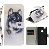 "MOONCASE Huawei P10 Lite Case, [Colorful Painting] Anti-Scratch Shockproof Protective Cover PU Leather Lanyard Wallet Case for Huawei P10 Lite 5.2"" Wolf"