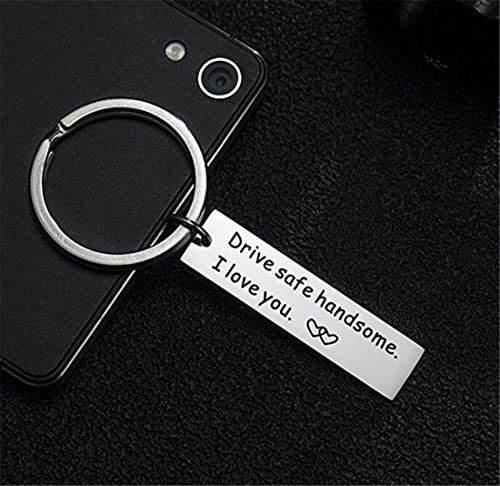 Tmrow 1Pc Drive Safe Keychain,Handsome I Love You Trucker Husband Gift for Husband dad Gift Valentines Day,1#