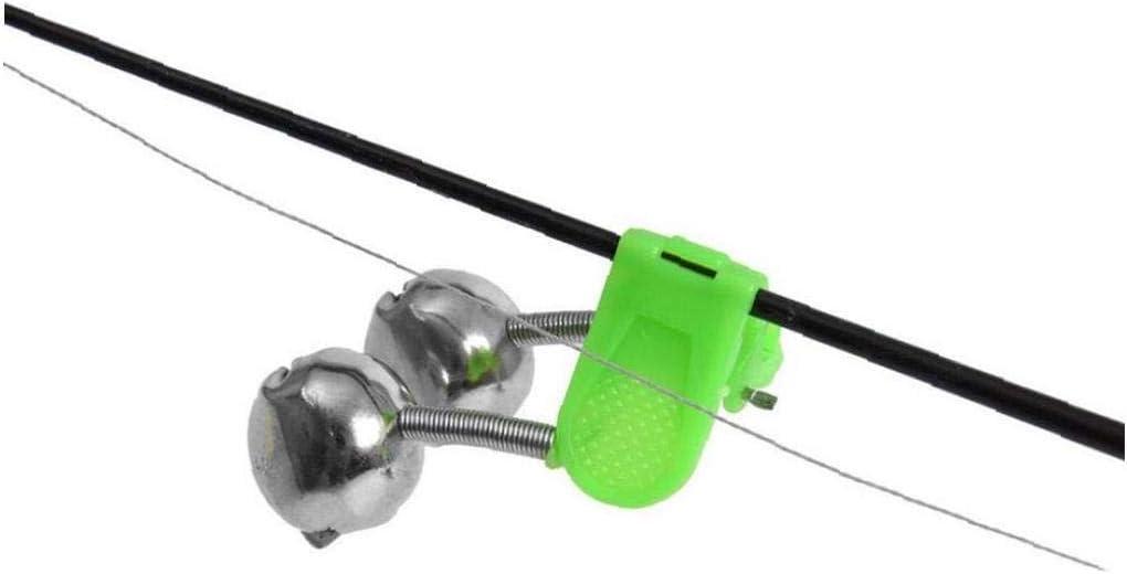 Silber Gr/ün 20 PC-Angel Glocken Laut Ton Fishing Pole Glocke Mit Plastikclip Dual-Metallfischen Bell