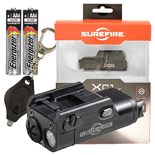 SureFire XC1 Ultra-Compact LED Handgun Light 200 Lumens w/ 2x Extra AAA Energizer Max Alkaline Batteries and Keychain Light by SureFire