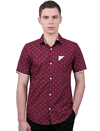 uxcell Men Single Breasted Point Collar Anchor Prints Short Sleeve Shirt X-Large Burgundy