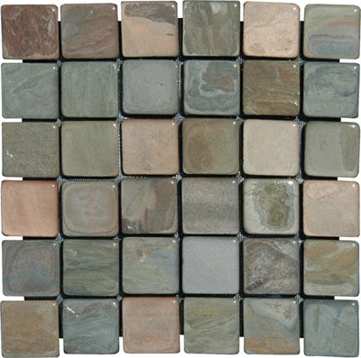 2x2 Multi Classic Tumbled Slate Mosaic Tiles for Backsplash, Shower Walls, Bathroom Floors, Jacuzzi, Swiming Pools (Bathroom Slate Tile)