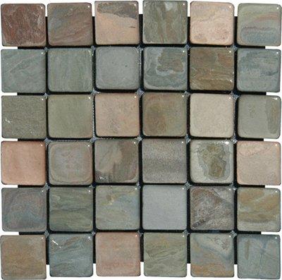 2x2 Multi Classic Tumbled Slate Mosaic Tiles for Backsplash, Shower Walls, Bathroom Floors, Jacuzzi, Swiming Pools - Slate Mosaic Tiles