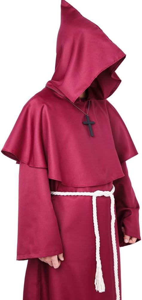 S, Blu Costume da Monaco Sacerdote Accappatoio Frate Medieval Rinascimentale Saio Ideale per Halloween Carnevale
