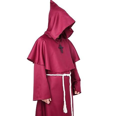 Myir Disfraz de Monje Sacerdote Túnica Medieval Renacimiento Traje con Cruz para Halloween Carnaval (L, Rojo)