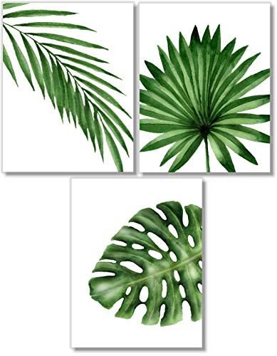 Banana Palm Wall Art - Tropical Leaves Art Prints - Botanical Prints Wall Art - Watercolor Monstera Date Palm Leaf Decor - Set of 3-8x10 - Unframed