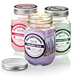 PURE Mason Jar Candle Gift Set!Chamomile Lavender Essential Oil Soy Candle+Spearmint Eucalyptus Aromatherapy Candle+Jasmine Geranium Natural Home Fragrance Candle