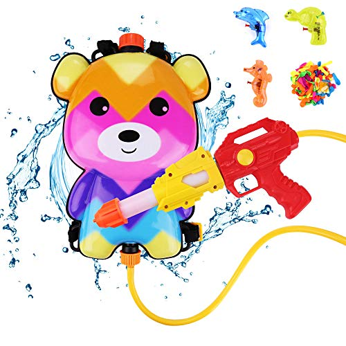 Water Guns Set for Kids, Bear Backpack Water Tank Attached 3 Small Animal Water Squirt Guns and 110 Pack Balloons for Summer beach, Swimming Pool by Water Guns