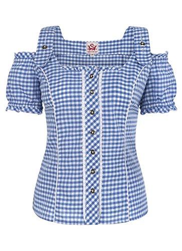 Spieth & Wensky - Damen Trachten Bluse kariert in verschiedenen Farben, Pilla (009567-0115), Größe:52;Farbe:Blau/Weiß (2337)