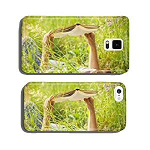 girl reading a book lying in the tall grass cell phone cover case iPhone6 Plus