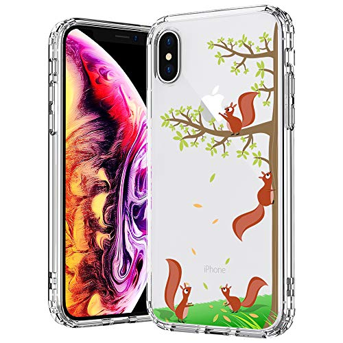 MOSNOVO Case for iPhone Xs/iPhone X, MOSNOVO Cute Squirrel Pattern Printed Clear Design Transparent Plastic Back Case with TPU Bumper Protective Case Cover for iPhone X/iPhone Xs