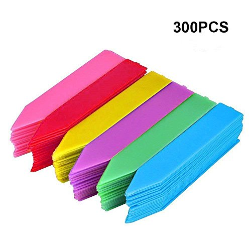KINGLAKE 300 Pcs 4 Inch Thick Plastic Plant Garden Seed Labels Nursery Garden Plant Stake Tags 6 Colors by KINGLAKE