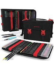 Vrais Stylos Pinceaux Arteza - 96 couleurs - Effet Aquarelle + Stylo Pinceau avec étui organiseur de 108 espaces