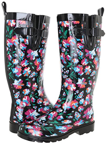 Capelli New York Ladies Shiny Bright Floral Printed Tall Rainboot Black Combo 10