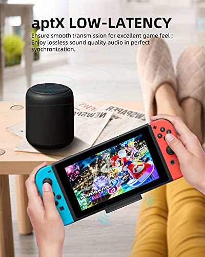 ZIOCOM Bluetooth 5.0 Adapter for Nintendo Switch, Wireless USB C Audio Transmitter Adapter, Low Latency, Small and Thin, Compatible with AirPods PS4 Bose Sony Bluetooth Headphones Speakers