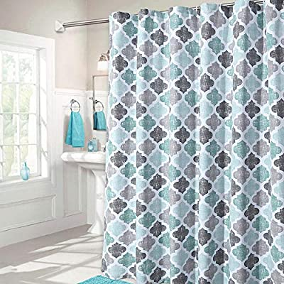 """Haperlare Fabric Shower Curtain, Aqua Polyester Cotton Blend Fabric for Bathroom Showers and Bathtubs, Geometric Pattern Heavy Textured Fabric Shower Curtain for Bathroom, 72"""" x 72"""", Gray/Aqua - QUALITY MATERIAL: Our shower curtain with soft hand feel is made ofa 75% polyester/25% cotton blend fabric, odorless, eco-friendly and durable, thick material. Instantly upgrades any bath to create a relaxing spa-like environment. BATHROOM DECORATIONS: The fabric shower curtain provides perfect privacy and decorative appeal. Inspired by the feeling of stylish and elegant, the quatrefoil geometric pattern shower curtain can also instantly update any bathroom decor theme. SERVE WELL: Bold graphics printedadds real value and depth to your decor. This unique & modern designs match well with various color palettes of towels, rugs, bathroom mats and any other bathroom accessories. Not waterproof, use of liner recommended for added protection. - shower-curtains, bathroom-linens, bathroom - 51E4nBipamL. SS400  -"""