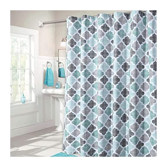 """Haperlare Fabric Shower Curtain, Aqua Polyester Cotton Blend Fabric for Bathroom Showers and Bathtubs, Geometric Pattern Heavy Textured Fabric Shower Curtain for Bathroom, 72"""" x 72"""", Gray/Aqua - QUALITY MATERIAL: Our shower curtain with soft hand feel is made ofa 75% polyester/25% cotton blend fabric, odorless, eco-friendly and durable, thick material. Instantly upgrades any bath to create a relaxing spa-like environment. BATHROOM DECORATIONS: The fabric shower curtain provides perfect privacy and decorative appeal. Inspired by the feeling of stylish and elegant, the quatrefoil geometric pattern shower curtain can also instantly update any bathroom decor theme. SERVE WELL: Bold graphics printedadds real value and depth to your decor. This unique & modern designs match well with various color palettes of towels, rugs, bathroom mats and any other bathroom accessories. Not waterproof, use of liner recommended for added protection. - shower-curtains, bathroom-linens, bathroom - 51E4nBipamL. SS570  -"""