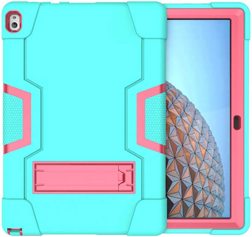 "Koolbei Case for Lenovo Tab P10 Case,Heavy-Duty Drop-Proof and Shock-Resistant Rugged Hybrid case(with Built-in Stand),for Lenovo Tablet 2018 Tab P10 10.1"" inch (TB-X705F /TB-X705L) Case (Aqua/Pink)"