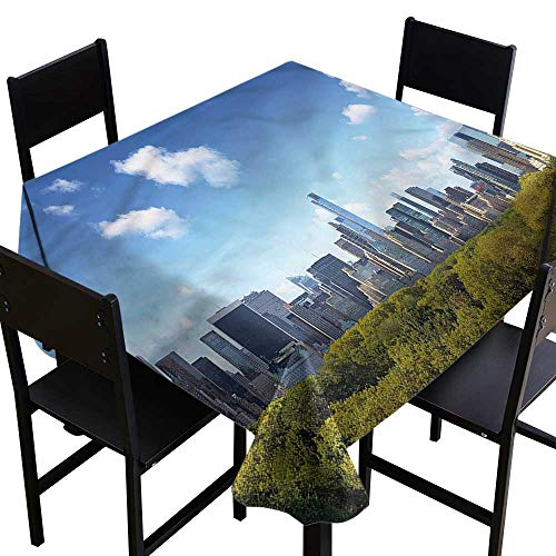 City Washable Square Tablecloth Central Park Midtown NYC It's Good to be Home Gorgeous High End Quality 54 x 54 Inch -