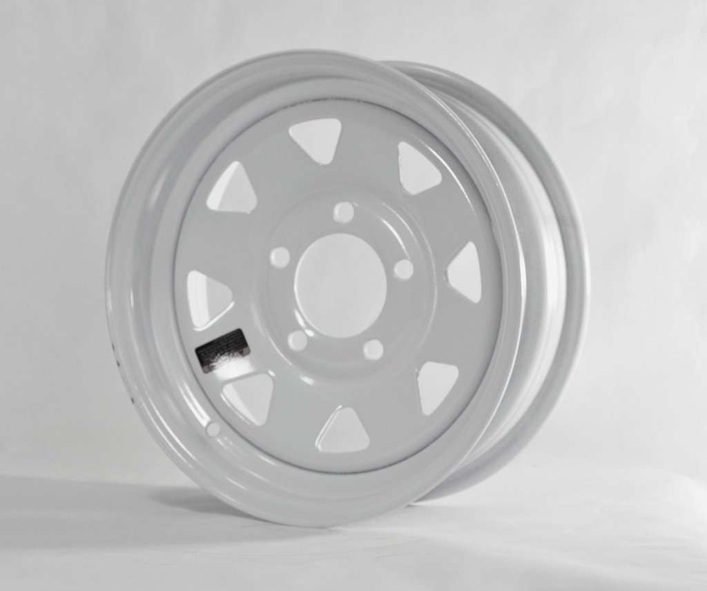 eCustomRim Trailer Wheel White Spoke Rim 15 x 5 Spoke Style 5 Lug On 4.75 in. Center 15x5