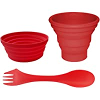 Ecoart Silicone Collapsible Bowl and Cup with Spork for Outdoor Camping and Hiking Unbreakable and Space Saving 1 Set