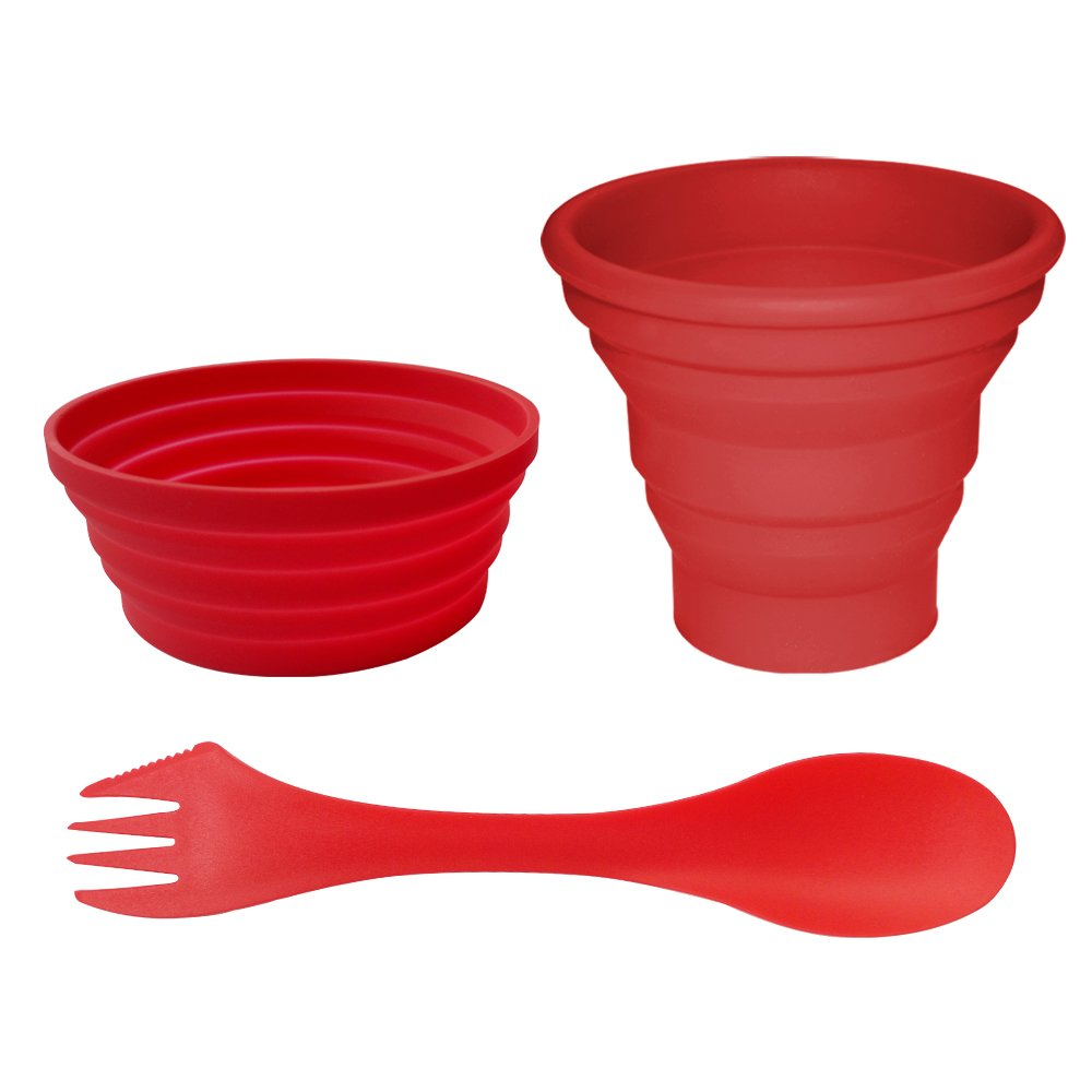 Ecoart Silicone Collapsible Cup and Bowl Set with Spork for Camping Hiking 100% Food-Grade FDA Approved BPA Free Artist