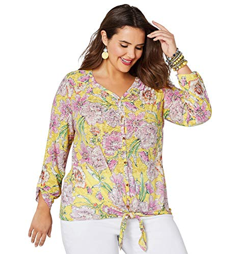 (Avenue Women's Floral Burnout Tie Front Top, 18/20 Banana)