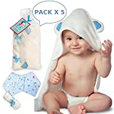 Bamboo Hooded Baby Towel with Washcloth & Two Bandana Bibs Set | Organic, Antibacterial & Hypoallergenic | Extremely Soft | Highly Absorbent | Newborn and Toddler Size 30'' x 30 | Ms. Stork