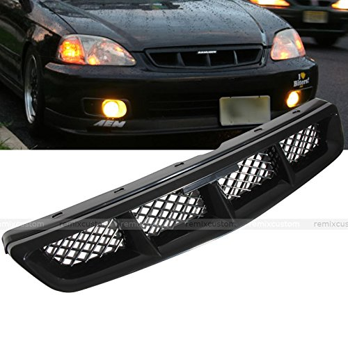Remix Custom for 99 00 Honda Civic Mugen Style Mesh Front Hood Grill Grille ABS Black