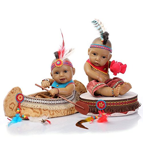 Native American Indian Doll Twins with boat and drum 11