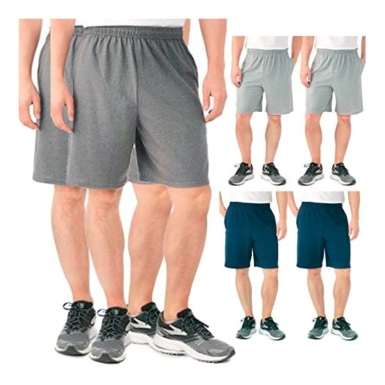 916ddd025ed7 Fruit of the Loom 2 Pack Tagless Mens Shorts with Pockets 9 inch ...