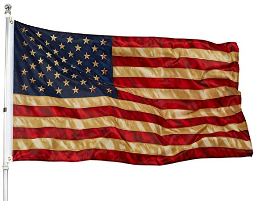 3x5 USA American Tea Flag - 50 Star Tea Stained American Flag Super Polyester - 90x150 Tea Stain American House Flag Outdoors Indoors - UV Protect Printing Quality with Brass Grommets Double Stitched ()