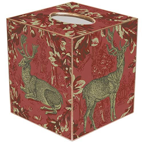 Marye-Kelley Christmas Deer Tissue Box Cover - TB8599-Woodland Deer Red Garland Tissue -