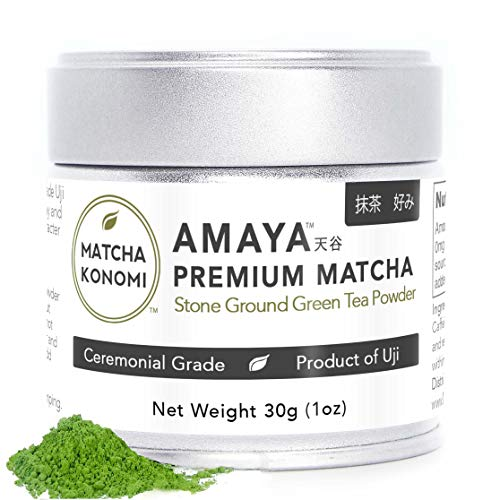 Amaya Matcha - Premium Ceremonial Japanese Matcha Green Tea Powder - First Harvest, Radiation Free, No Additives, Zero Sugar -  nonorganic - 30g (1oz) Tin