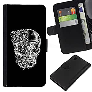 All Phone Most Case / Oferta Especial Cáscara Funda de cuero Monedero Cubierta de proteccion Caso / Wallet Case for Sony Xperia Z1 L39 // Skull Black White Floral Deep Meaning